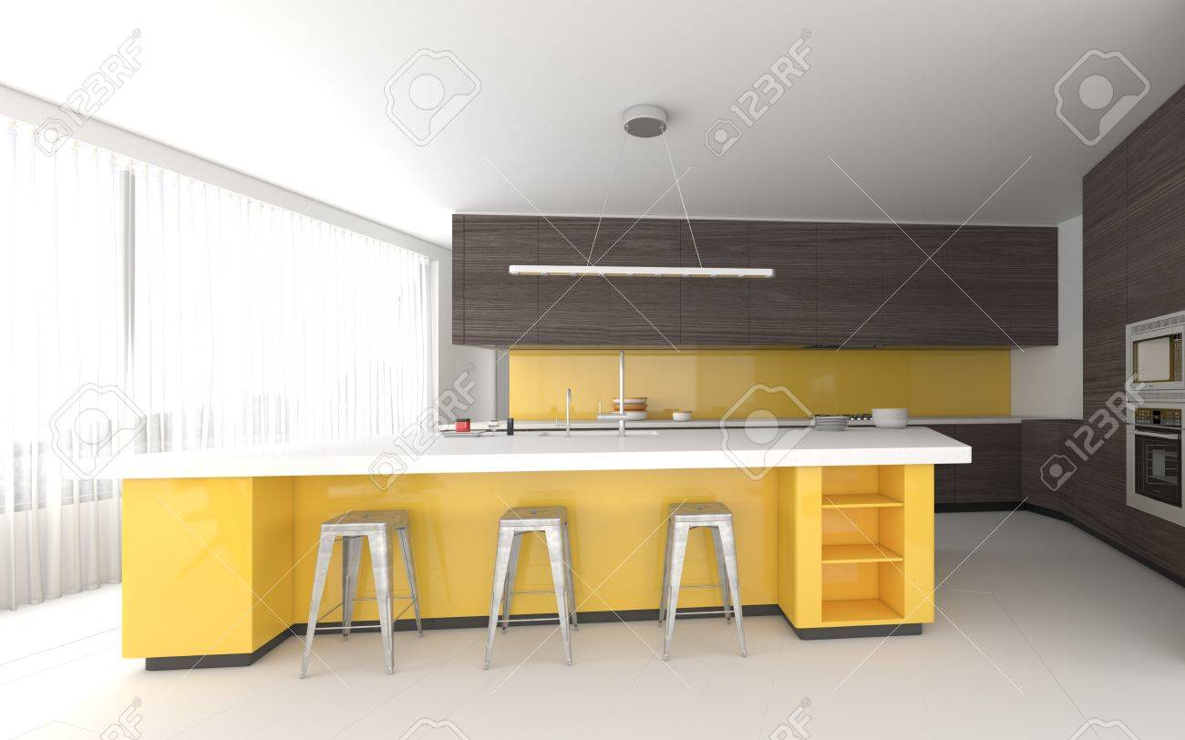 Amazing Colorful Yellow Bespoke Kitchen Interior With Fitted Cabinets Lamtechconsult Wood Chair Design Ideas Lamtechconsultcom