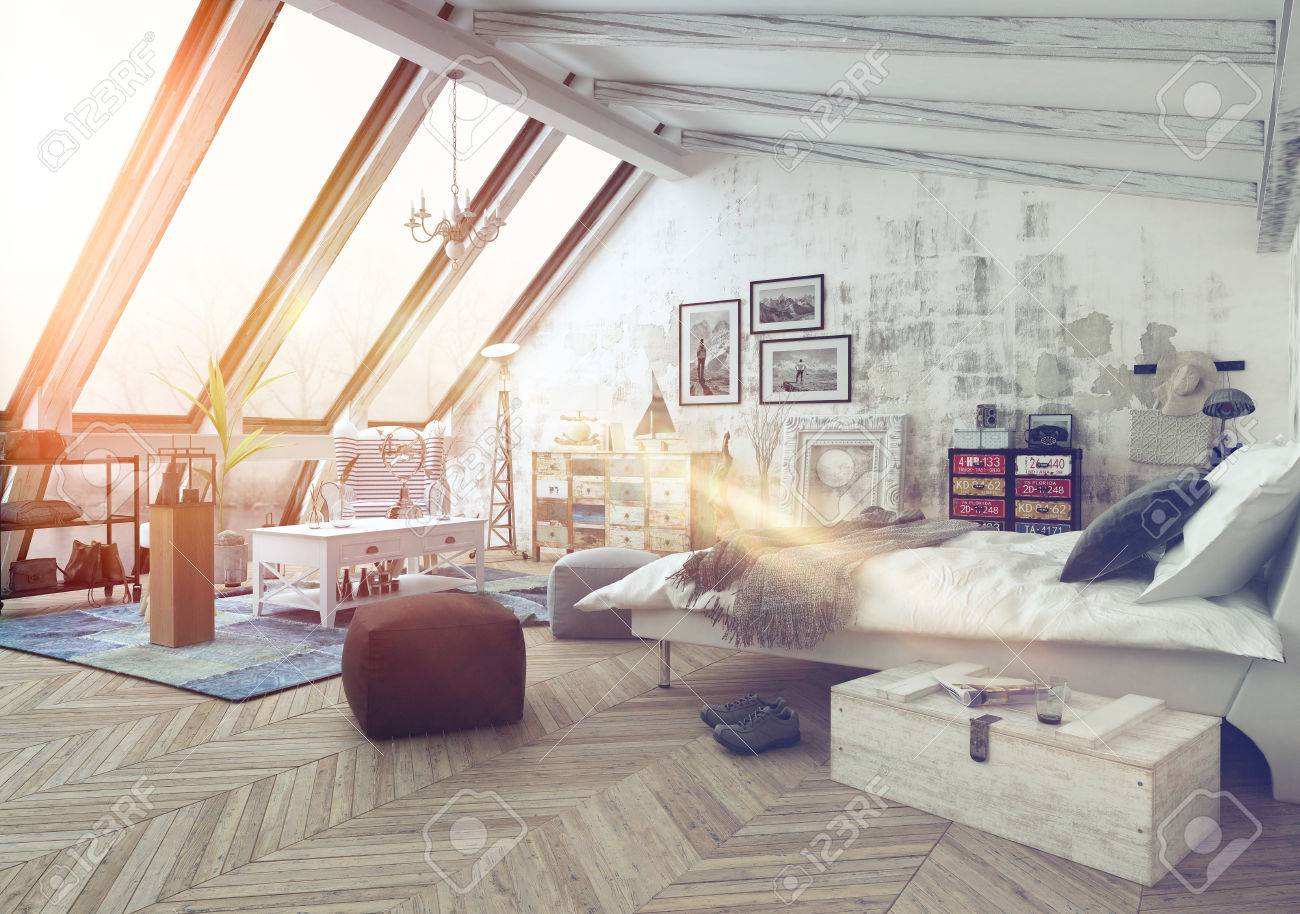 Sunlight shining into modern hipster style loft bedroom covered in hardwood floors with pictures, seat cushions and other decorations with slanted windows above Standard-Bild - 54596075