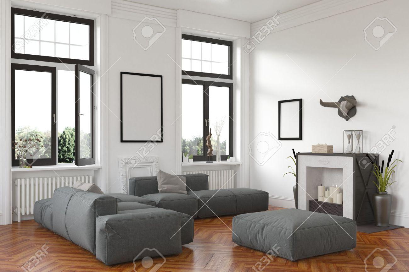 Stijlvolle woonkamer interieur met open haard en comfortabele ...