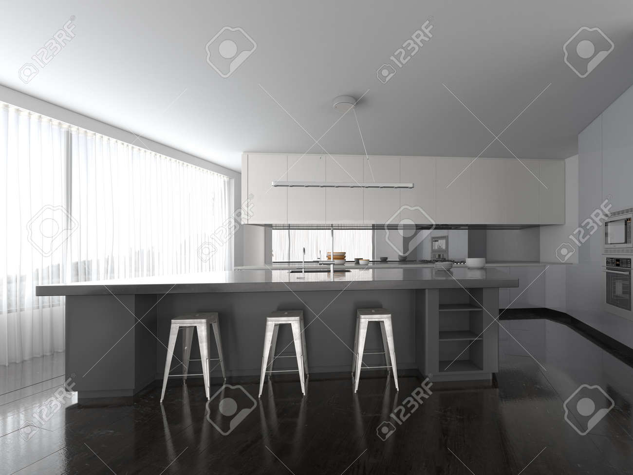 Spacious Openplan Modern Grey And White Fitted Kitchen Interior - Grey fitted kitchens