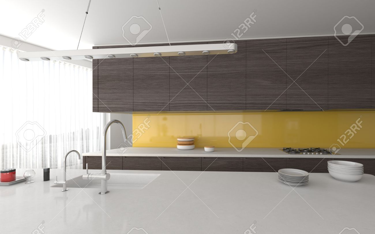 Modern Open Plan Yellow And Grey Kitchen Interior With Built Stock