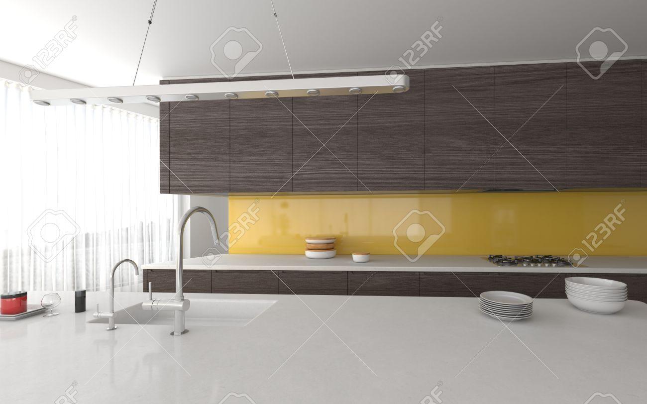 Moderne Offene Gelb Und Grau Kuche Interieur Mit Einbauschranken Und