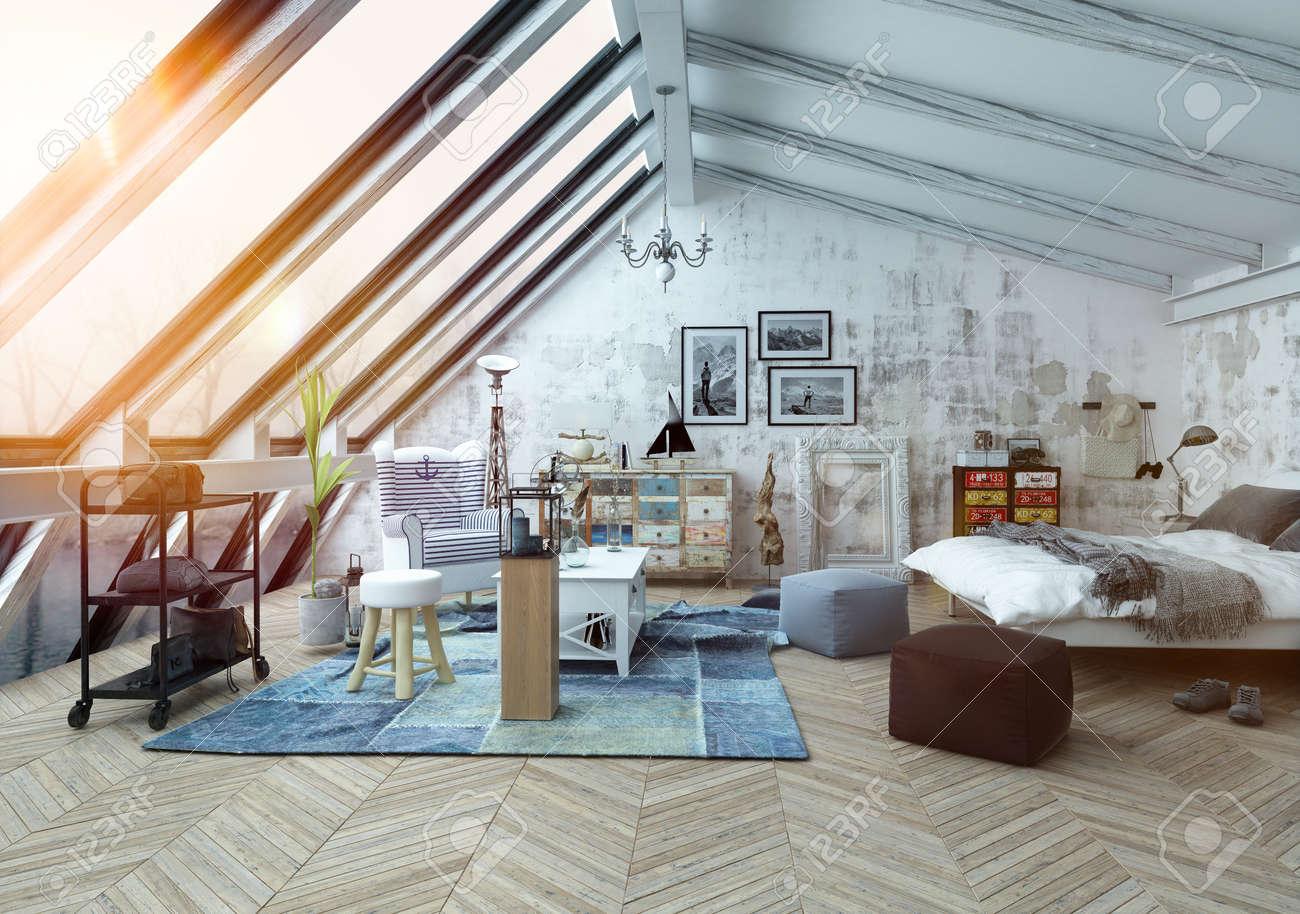 Zonlicht schijnt in moderne hipster stijl loft slaapkamer bedekt ...