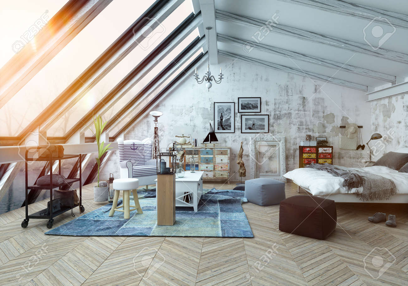 Sunlight shining into modern hipster style loft bedroom covered in hardwood floors with pictures, seat cushions and other decorations with slanted windows above. 3d Rendering. Standard-Bild - 54596081