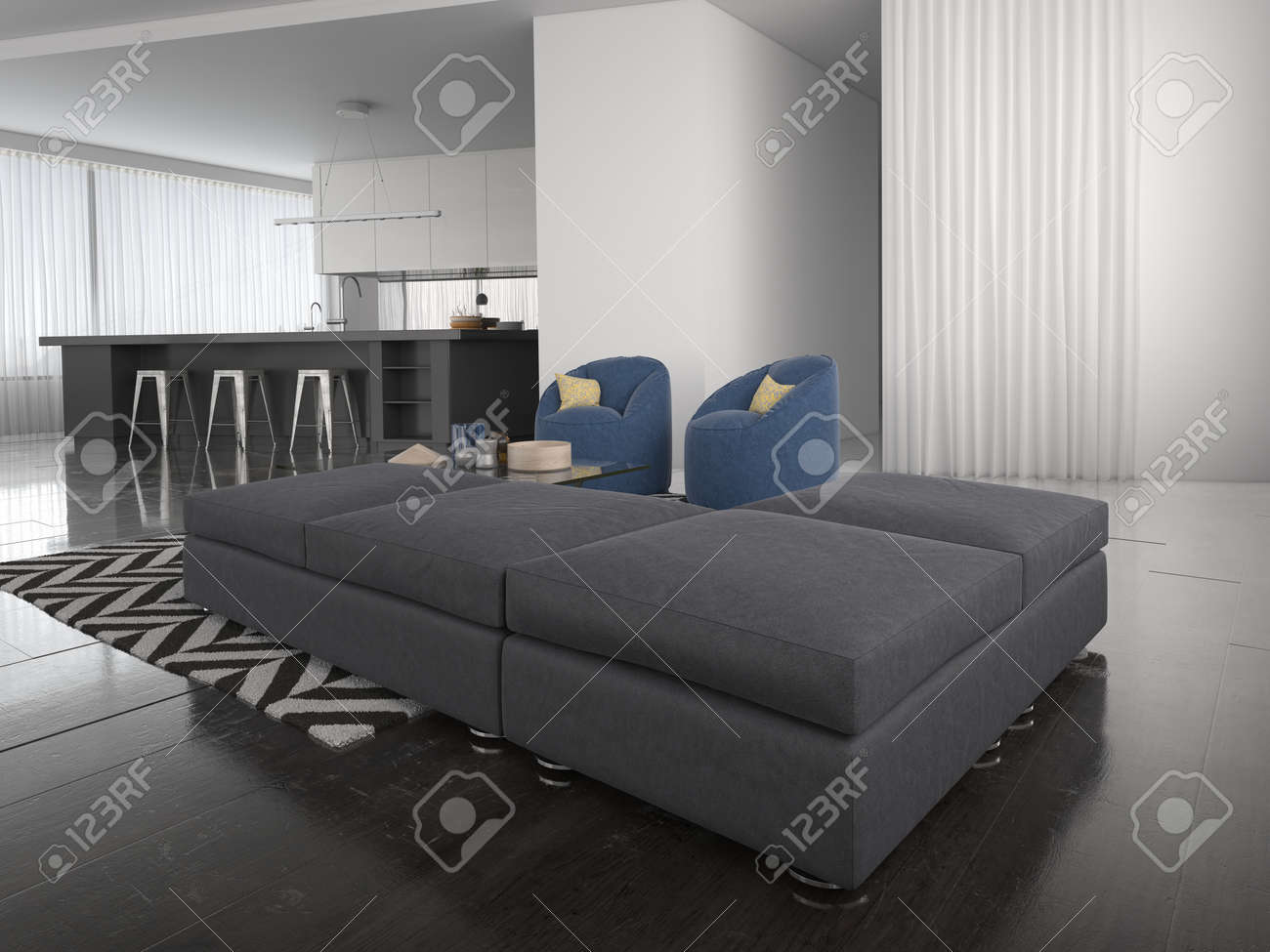Modern Ottoman Style Lounge Suite In A Large Airy Open Plan Living Room Interior Sombre