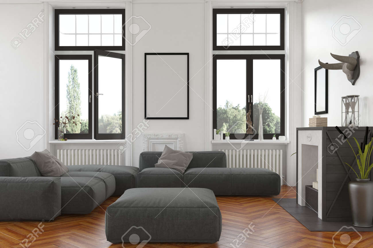 Cozy living room interior with fireplace and radiators below tall windows overlooking the garden and a comfortable grey upholstered lounge suite with blank picture frame on the wall. 3d Rendering. Standard-Bild - 54596045