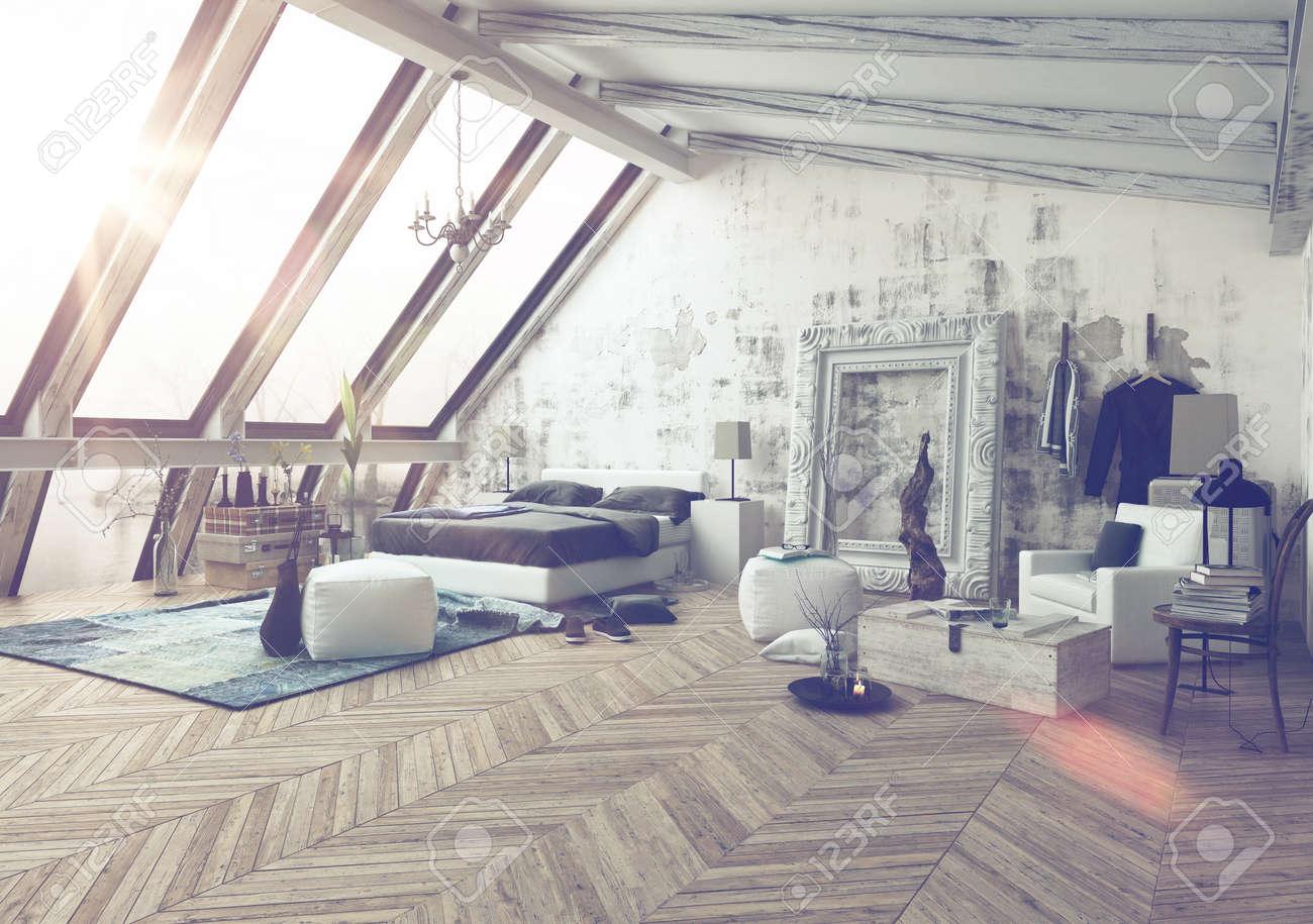 Camera Modellato Nelle Decorazioni Moderne Con Ampie Finestre ...