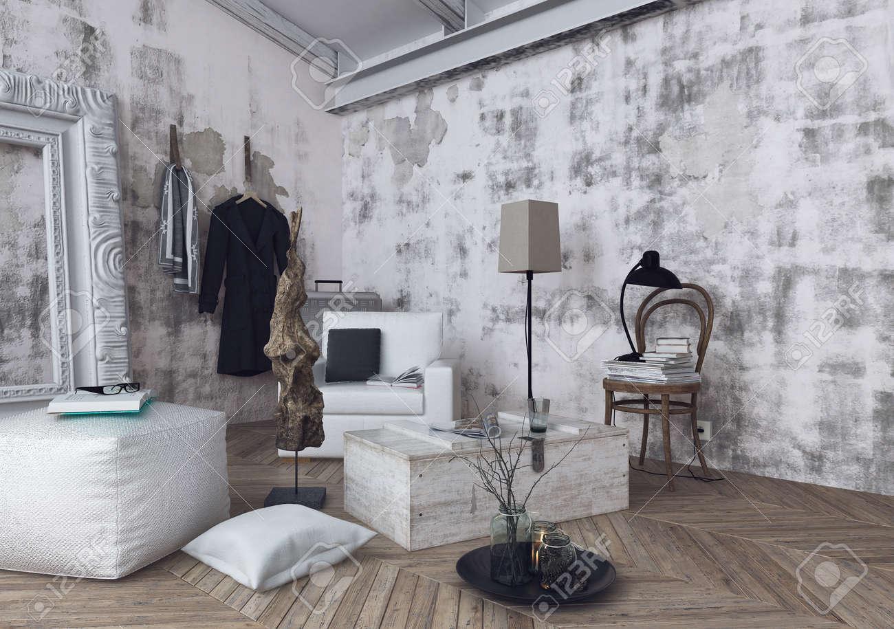 Kissen, Lampen Und Sofakissen Auf Fischgrätmuster Holzboden Im Zimmer Mit  Unfertigen Weißen Wänden. 3D