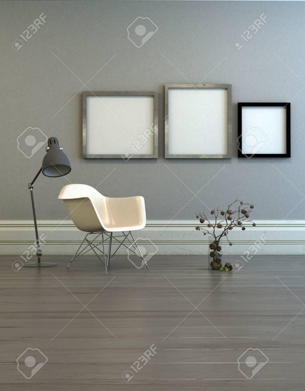 Tres Marcos En Blanco Con Bordes De Acero En La Habitación Con Silla ...
