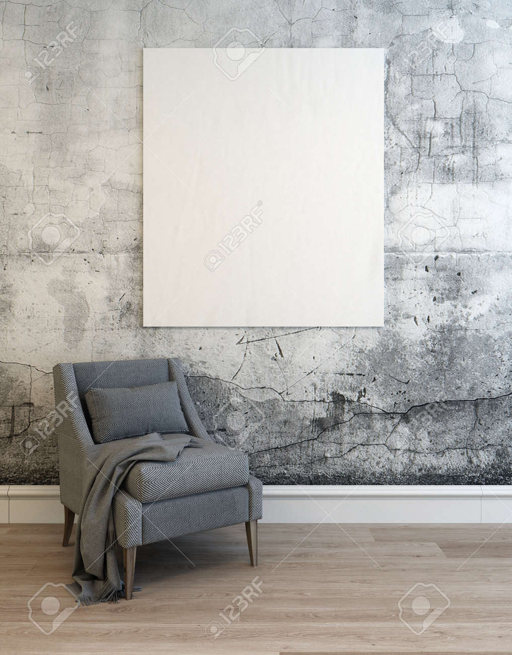 3D render of empty concrete walled room with gray sofa chair over hardwood floor and white lower molding. 3d Rendering. Standard-Bild - 54595979