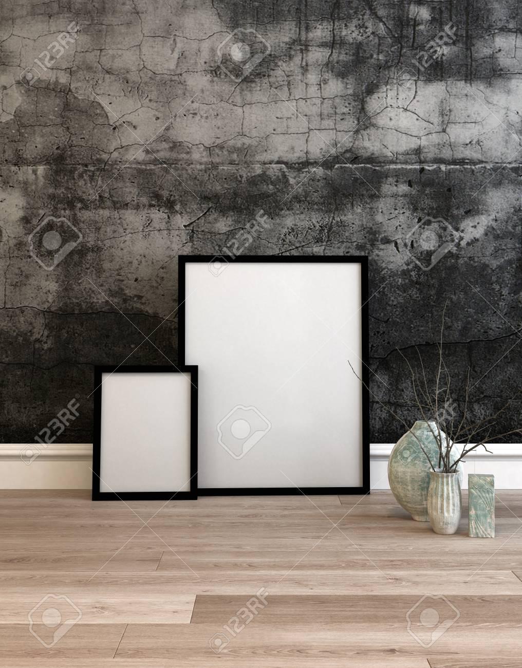 3D Gerendert Einstellung Von Zwei Weißen Rahmen Auf Der Holzboden Vor  Betonwand Ruht Neben Topfpflanzen.