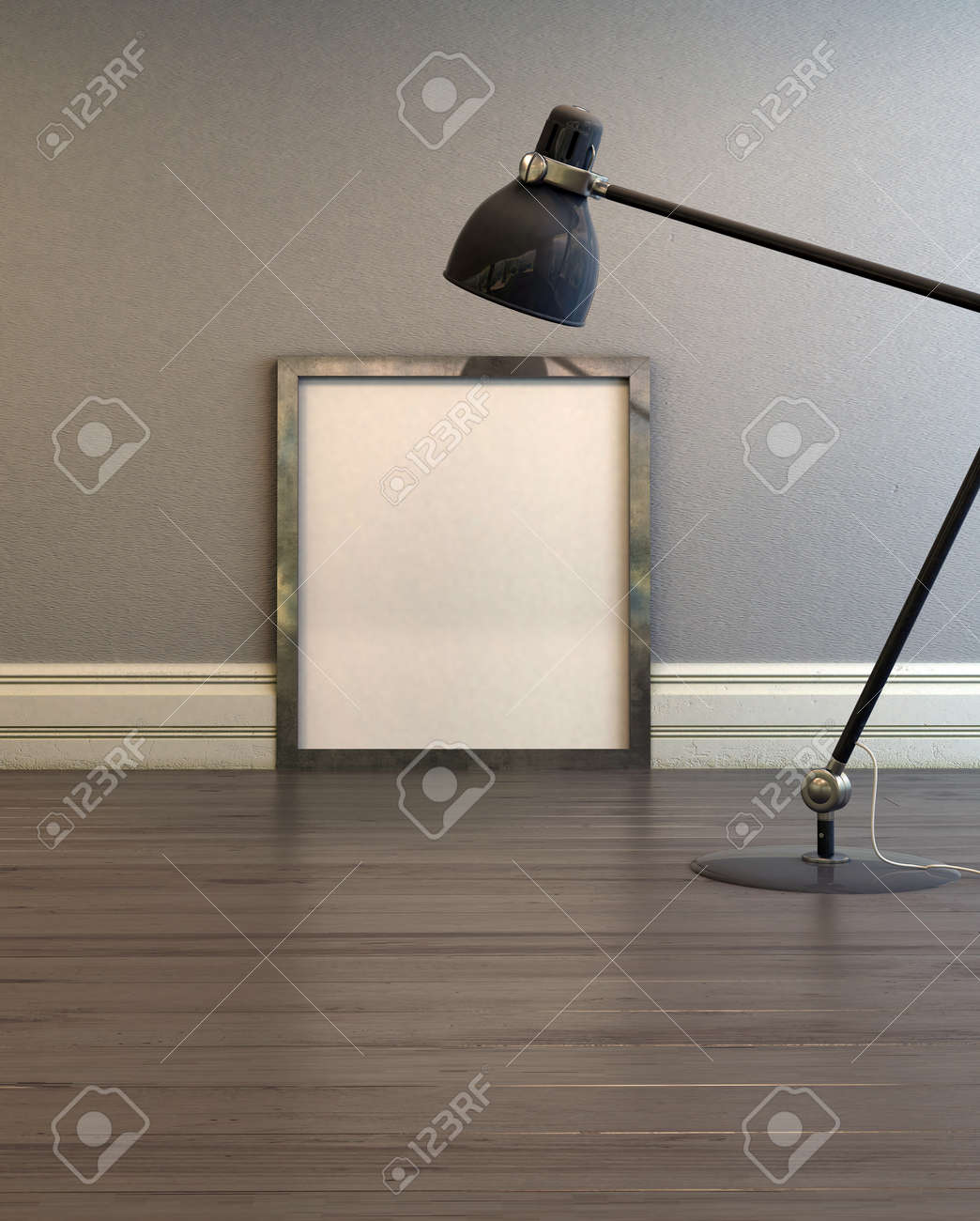 Empty picture frame illuminated by an anglepoise lamp standing empty picture frame illuminated by an anglepoise lamp standing on a wooden floor leaning against a aloadofball Image collections
