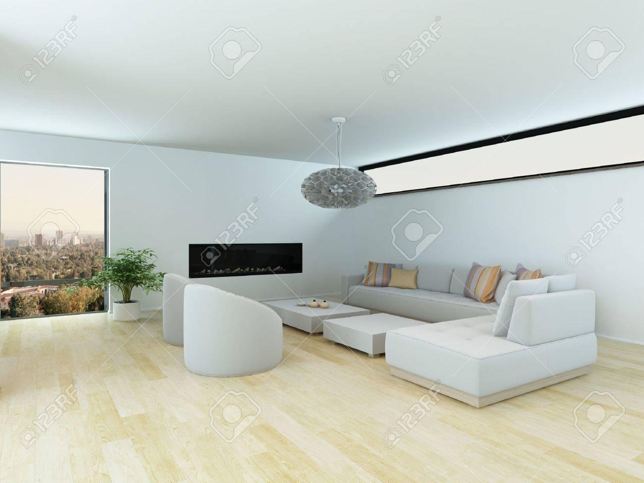 Moderne Wohnzimmer Mit Einem Weißen Modular Aufgebaute Suite Und Hellen  Parkettboden In Einem Minimalistischen Design Mit