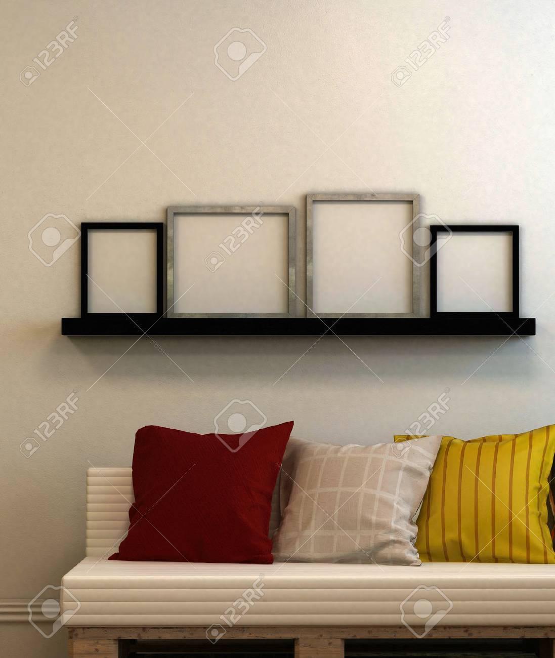 Moderne Couch Mit Kissen Und Vier Leere Bilderrahmen Auf Einem Regal ...