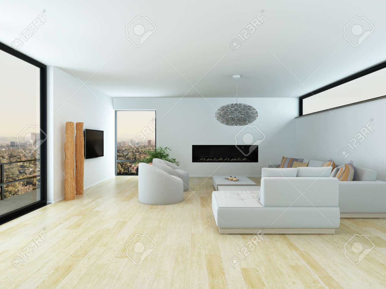 Modernes Weißes Wohnzimmer Innenraum Mit Einem Hellen Parkettboden, Weiße  Sitzgruppe Und Großem Sichtfenster, Eine