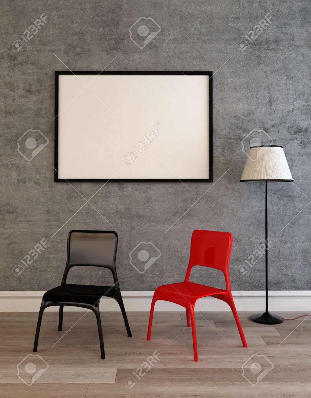 Moderne Schwarze Und Rote Stühle Auf Einem Holzboden Unter Einem ...