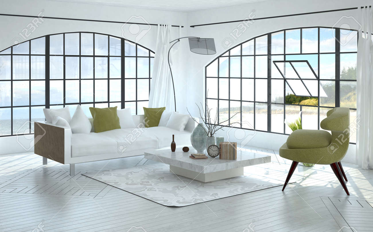 3D Interior Of Spacious Living Room With Square Coffee Table ...