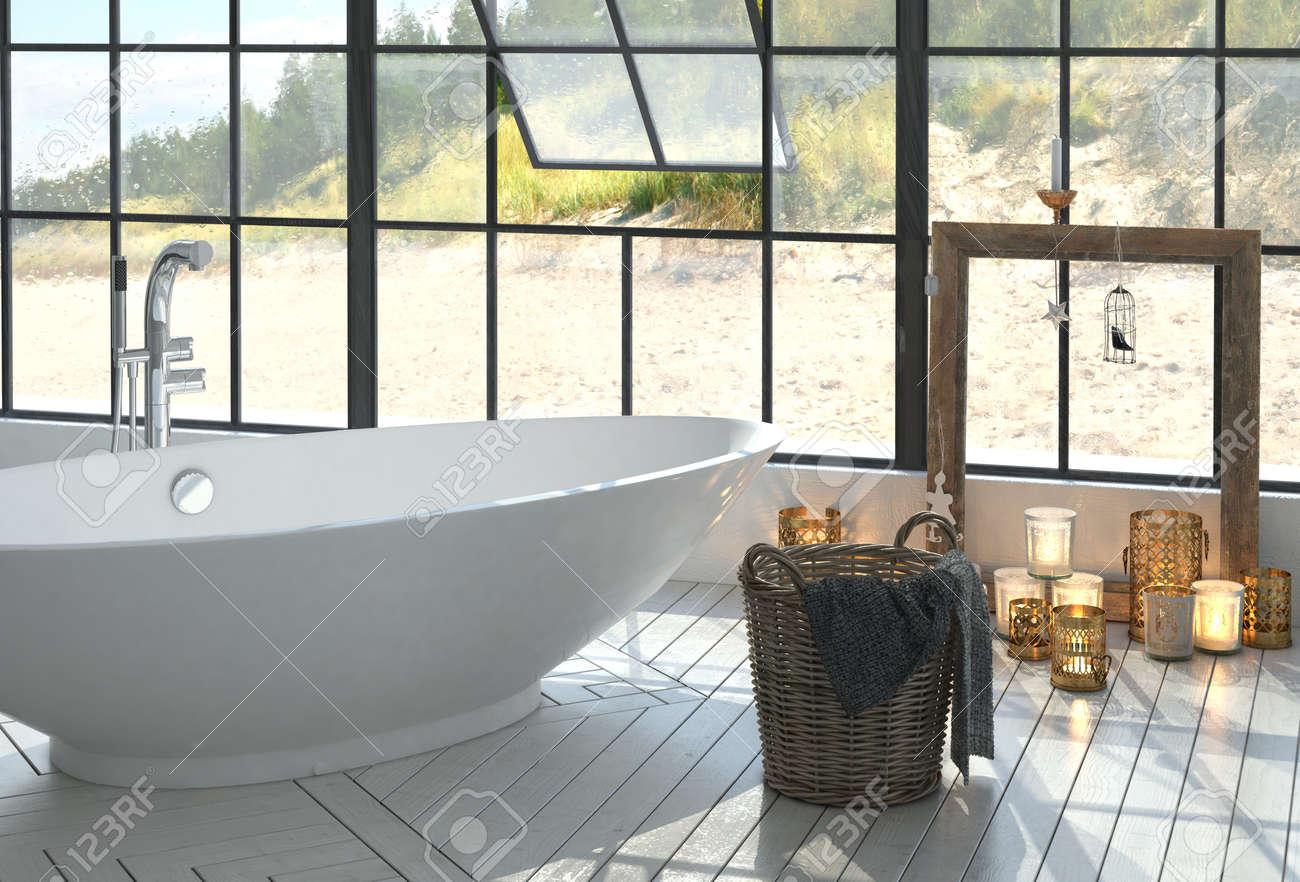 Beau Monochrome Intérieur Moderne Salle De Bain Blanche Romantique Avec Une  Baignoire En Forme De Bateau Autonome Et Des Bougies Allumées En Dessous  Du0027une Grande ...