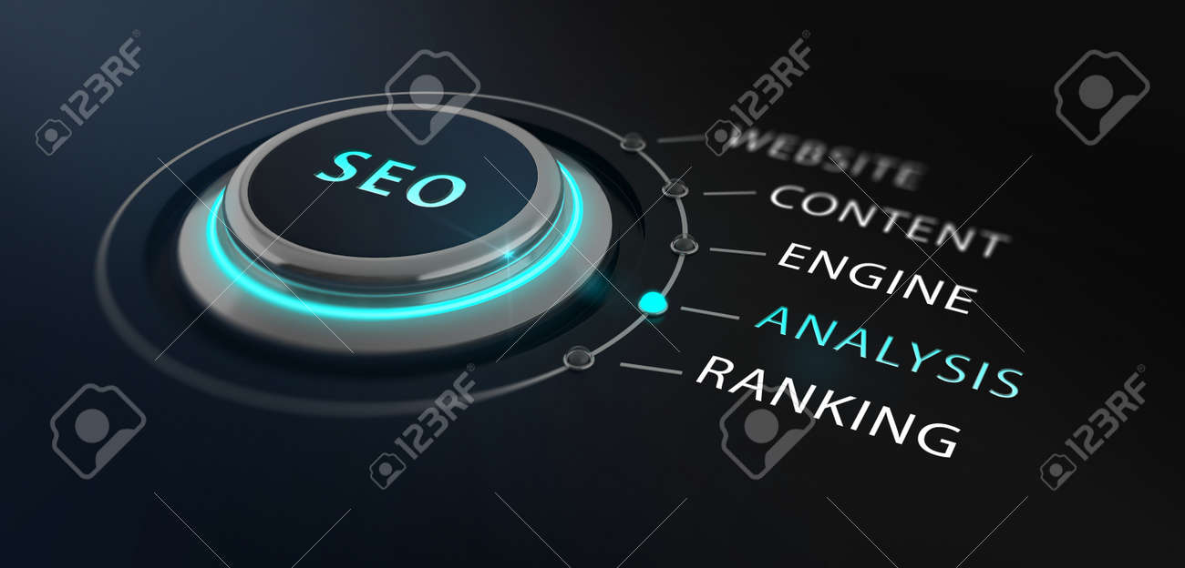 Modern design switch or button with the word SEO - Search Engine Optimizationon - on top surrounded by with the words website, content, engine, analysis and ranking with a black blurred backgorund. Standard-Bild - 56003834