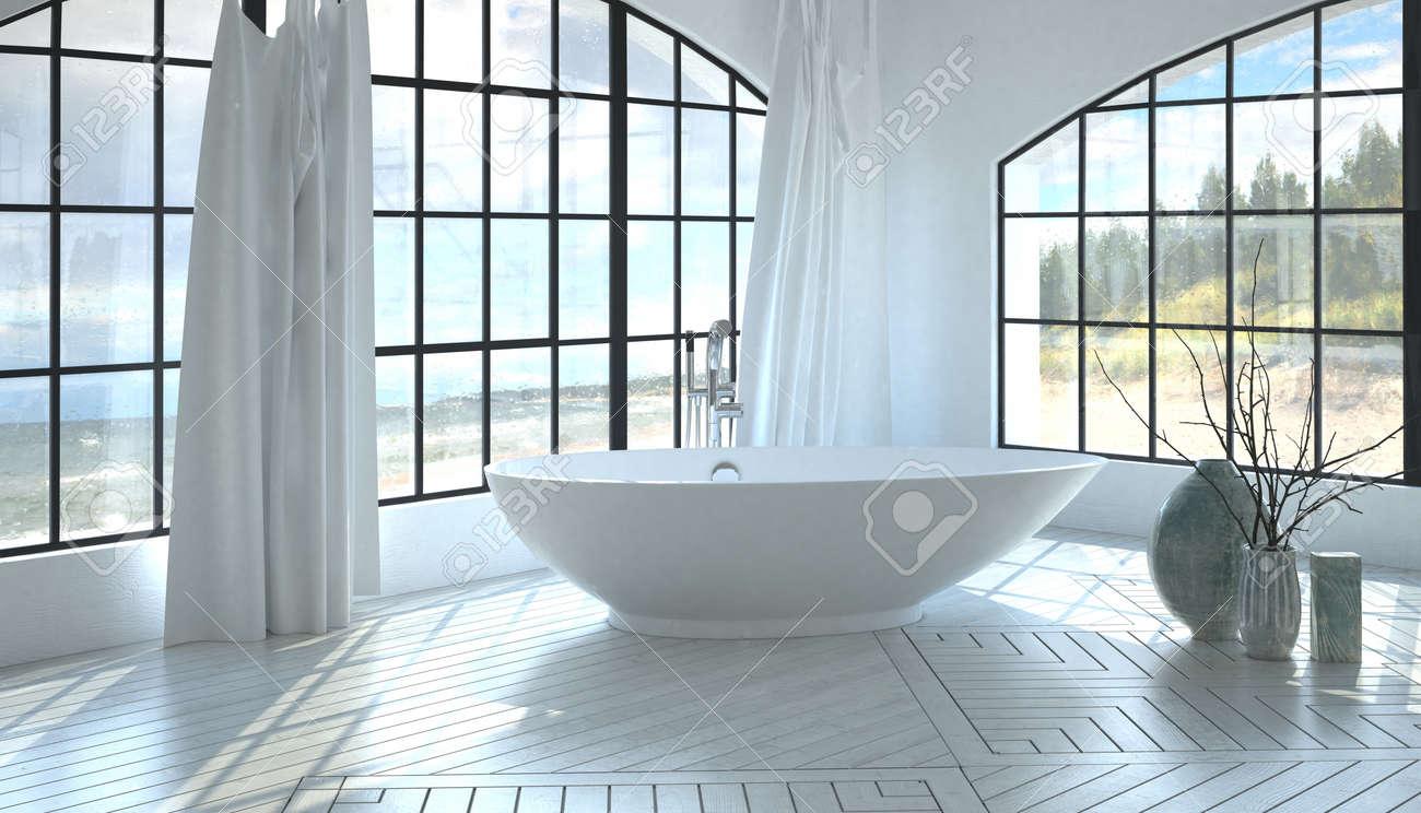 Modern minimalistisk vit monokromatisk badrumsinredning med ett ...