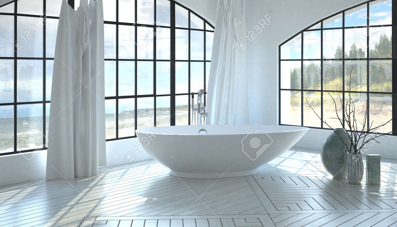 Modern Minimalist White Monochromatic Bathroom Interior With.. Stock ...