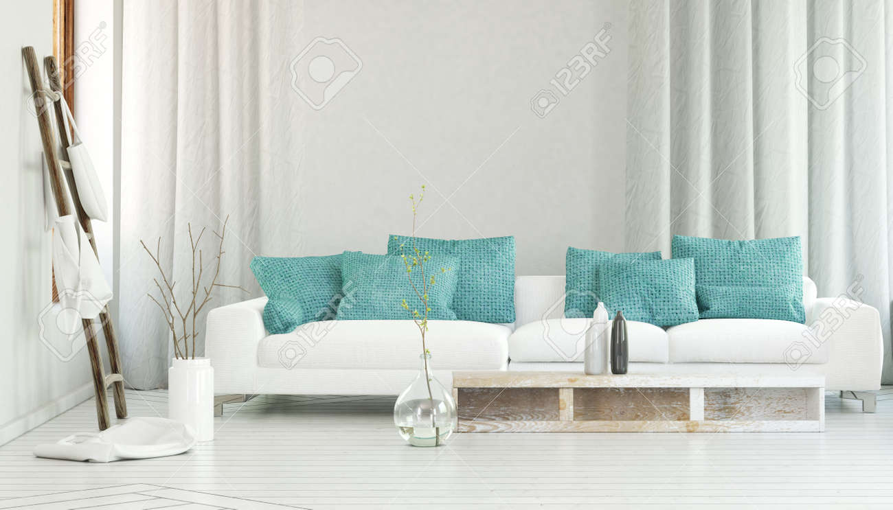canape blanc large decore par couleur turquoise oreillers entre les rideaux fluides et un grand vase en verre avec des branches rendu 3d