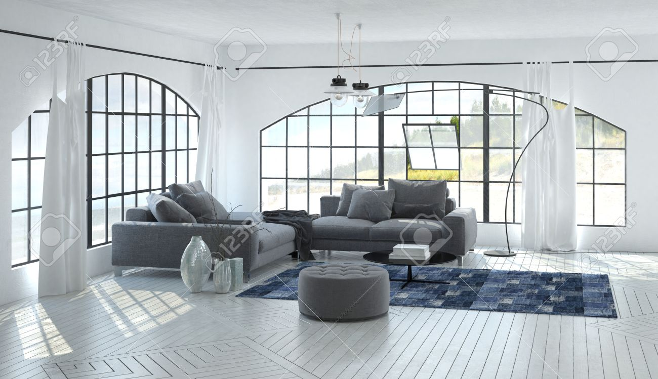 3D Living Room Interior Of Airy Comfortable Home With Ceiling ...