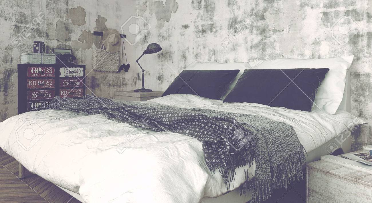 Stock Photo   Washed Out Image   Close Up Of Modern Double Bed With Simple  Linens In Bedroom With Weathered Walls. 3d Rendering.
