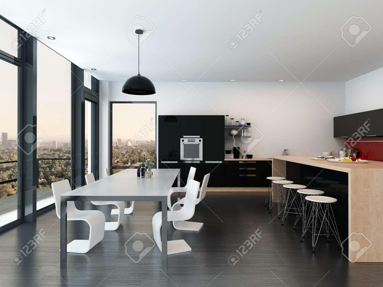 Moderne Offene Küche Und Esszimmer Interieur Mit Einem Geformten ...