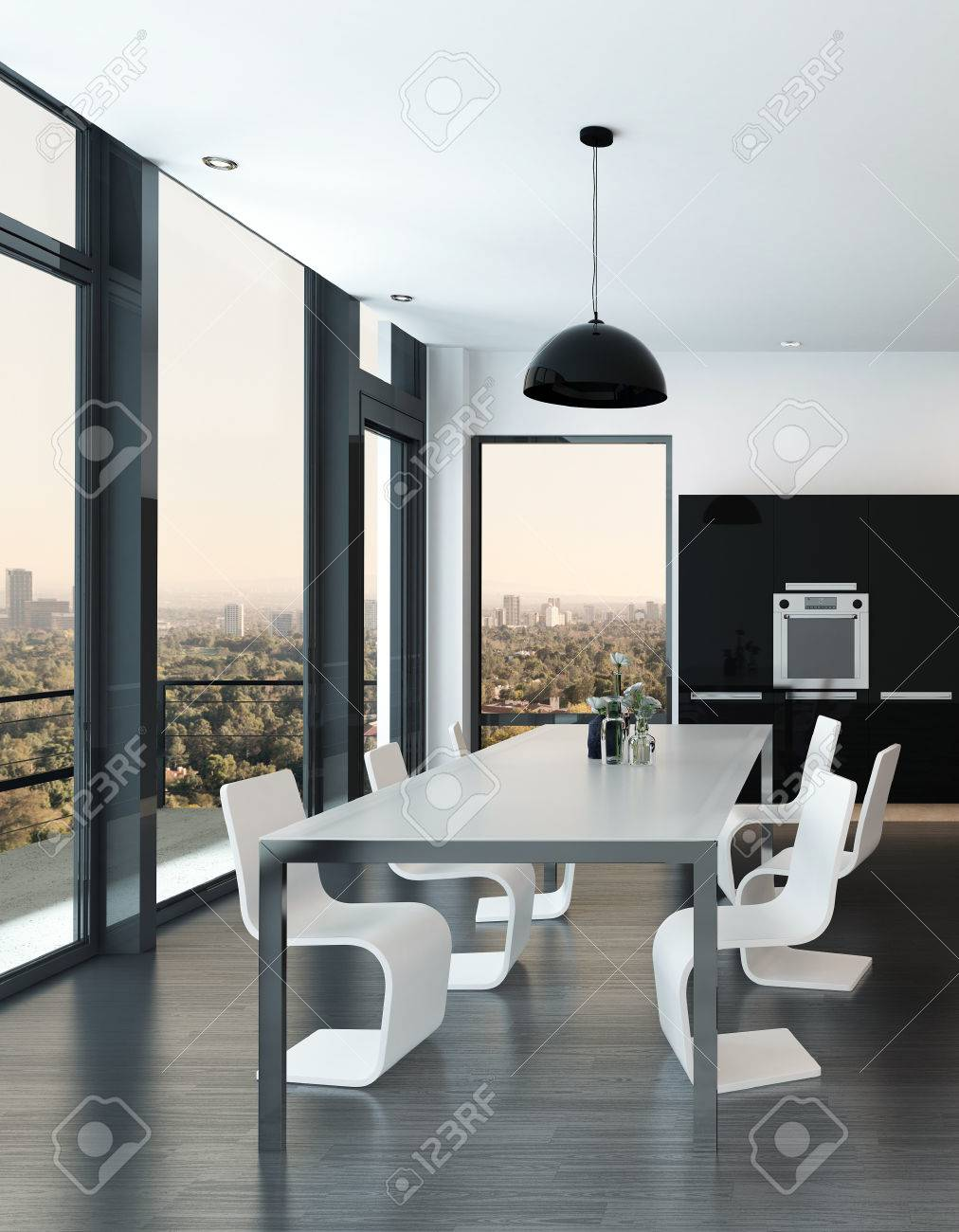 Salon De Luxe Noir Et Blanc stylish modern molded dining suite in a luxury black and white..