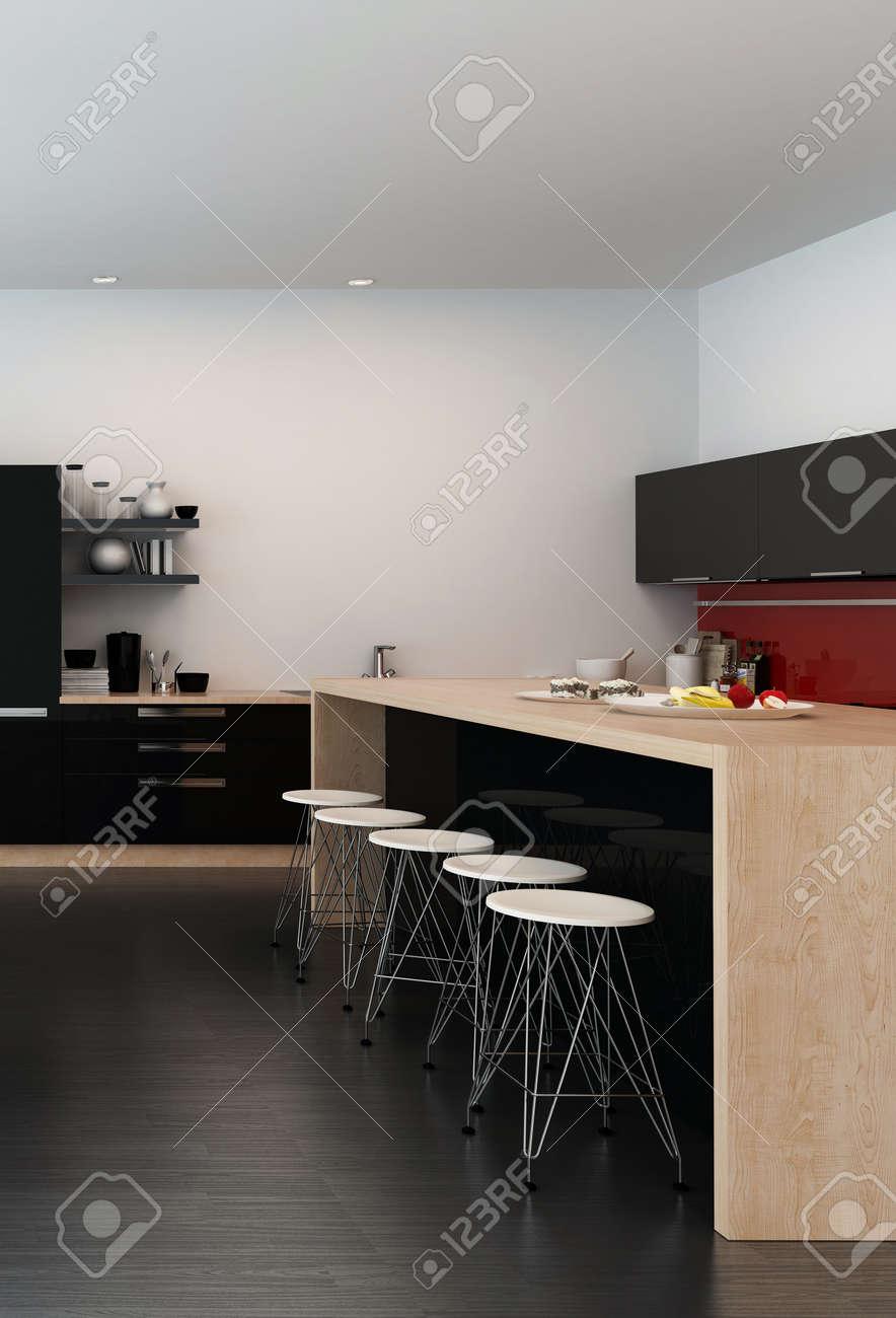 Moderne Bar Zähler In Einem Offenen Küche Mit Einem Holz Insel ...