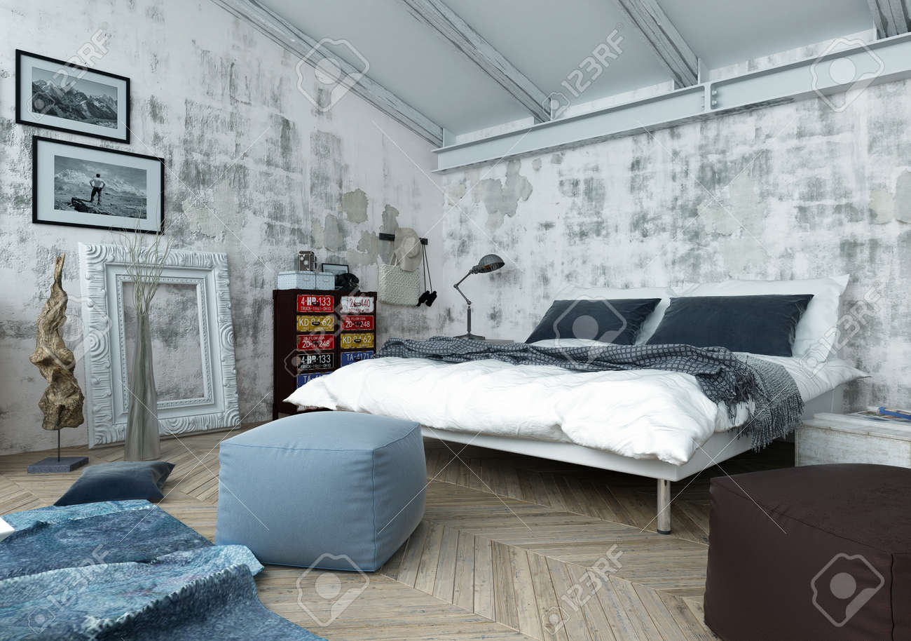 Architectural Interior of Bedroom Filled with Natural Daylight - Luxury Apartment with Mixture of Old and New Style Furnishings and Decor. 3d Rendering. Standard-Bild - 56101263