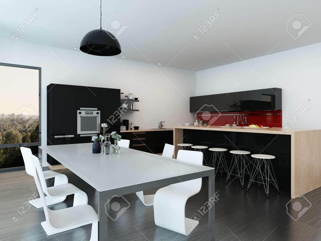 Quelle Chaise Haute Pour Ilot Central ~ Appartement Int Rieur D Cloisonn Moderne Avec Une Table L Gante