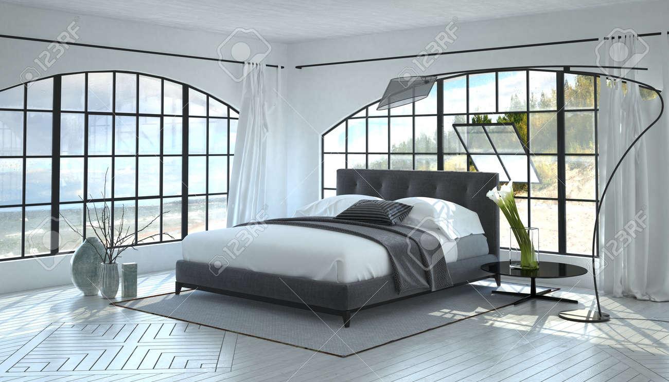Un Blanche Lumineux Aéré Double Monochromatique Avec Gris Chambre Lit Grandes Une Vue Dans De Salle Fenêtres Moderne Entre Deux Et Intérieure pGVLqSzMU