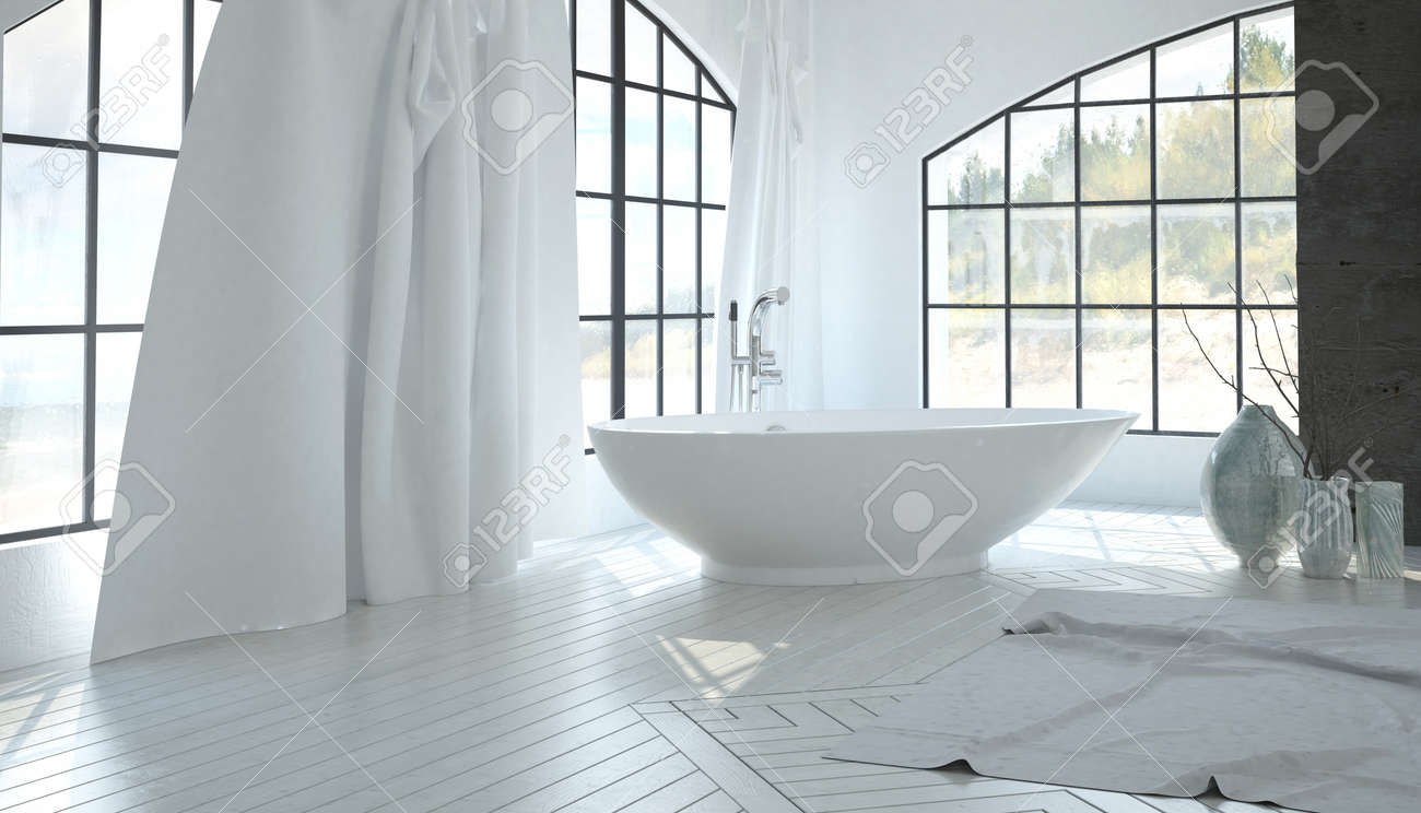 Luxury White Bathroom Interior With A Contemporary Freestanding ...