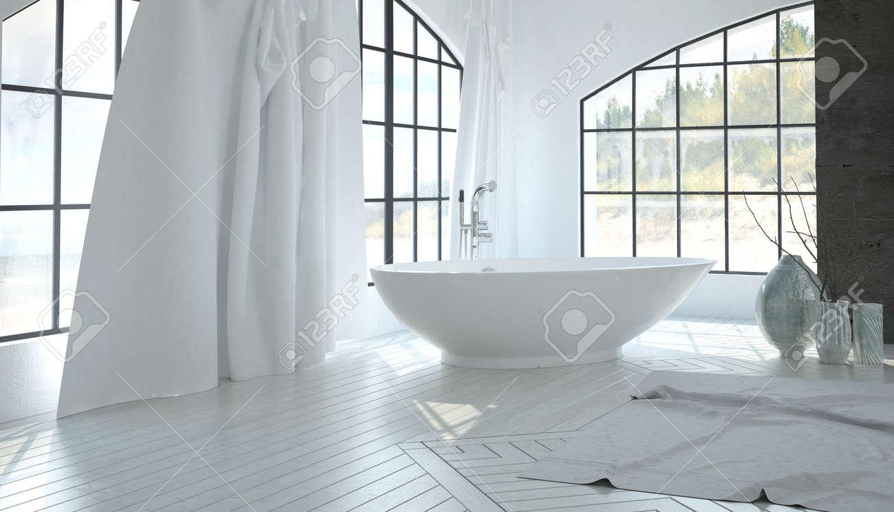 Luxus-weiße Badezimmer-Interieur Mit Einem Modernen Freistehende ...