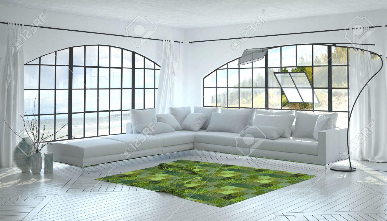 Perfekt Einfarbige Weiß Wohnzimmer Innenraum Mit Einem Auffallenden Grünen Akzent  Teppich Und Eckschrank Sofa Unter Zwei Gewölbte