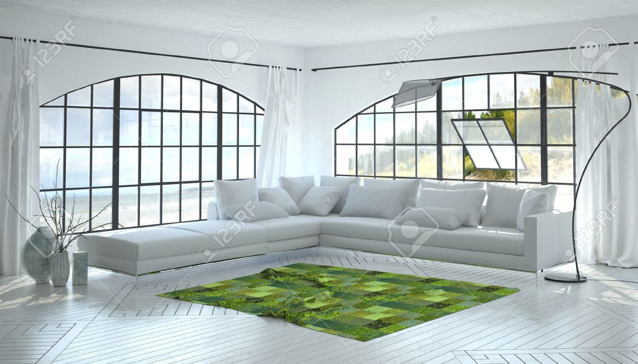 Monochromatic White Living Room Interior With A Striking Green ...