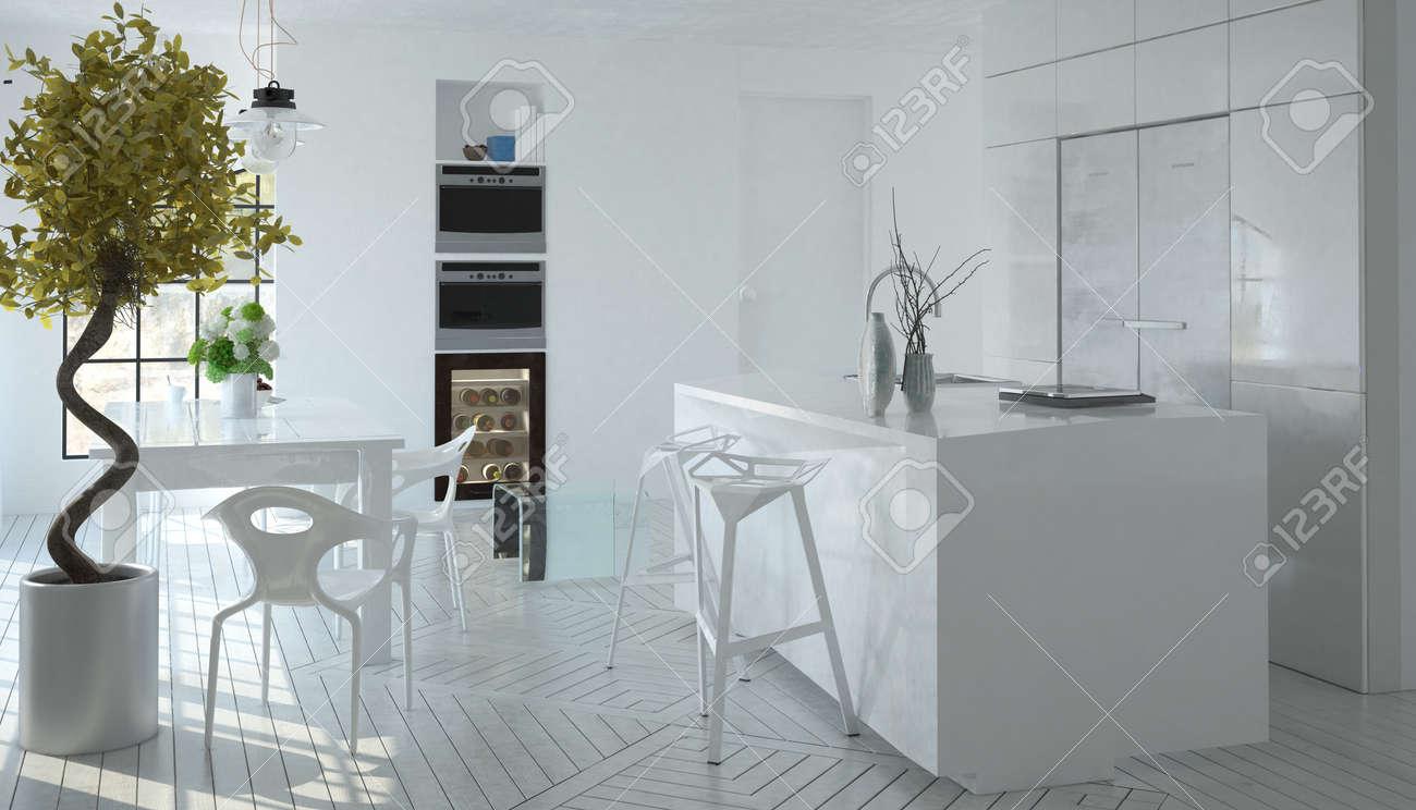 Kompakte Moderne Monochrom Weiße Küche Interieur Mit Eingebauten ...