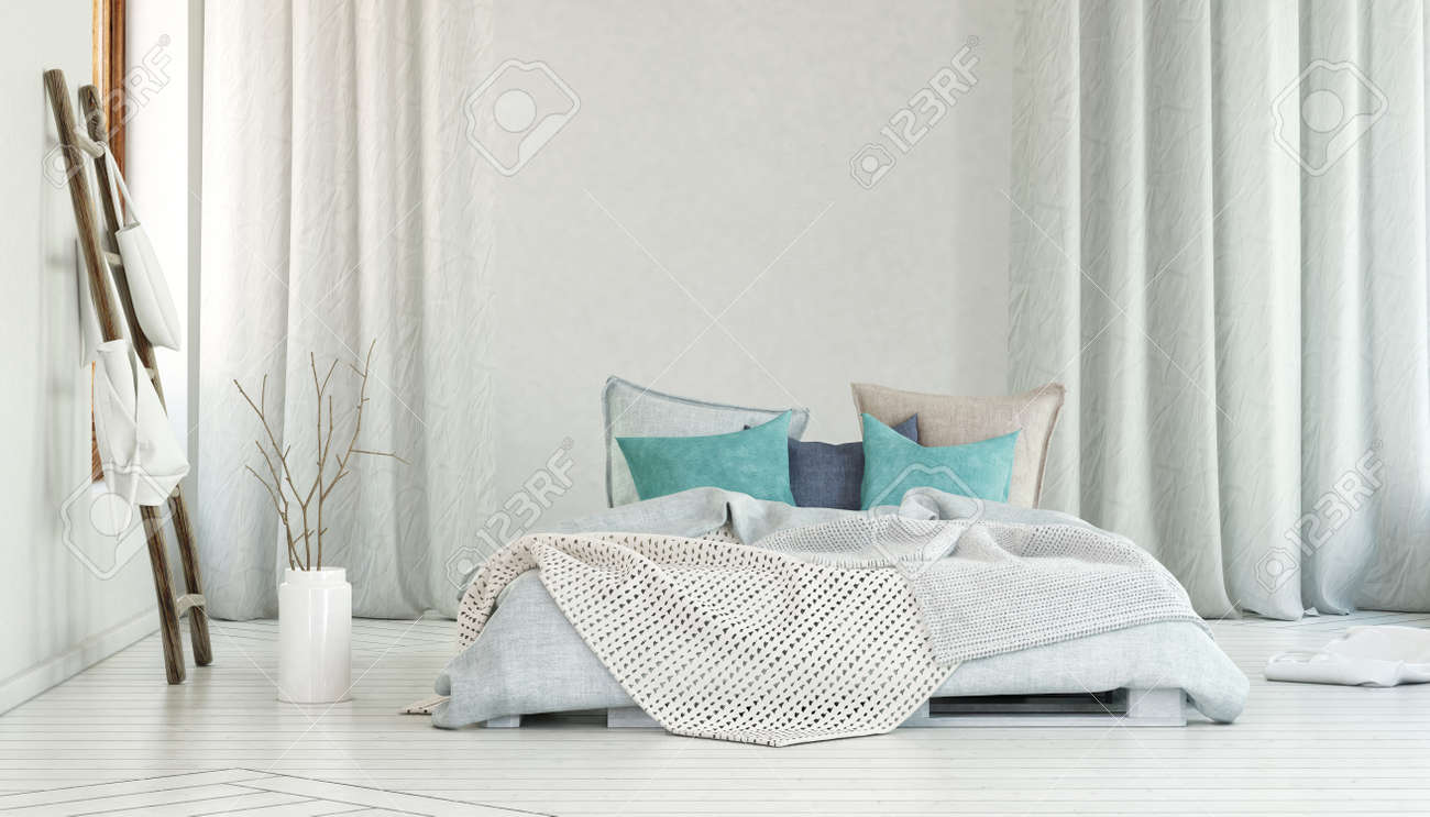 Storage in bags on poles beside planter on floor and single large bed in room with blue pillows and long white curtains. 3d Rendering. Standard-Bild - 56101425