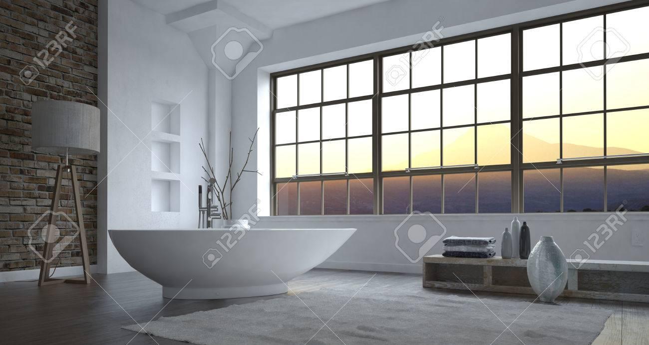 Salle De Bain Grise Et Blanc ~ int rieur de salle de bain gris et blanc de luxe minimaliste moderne