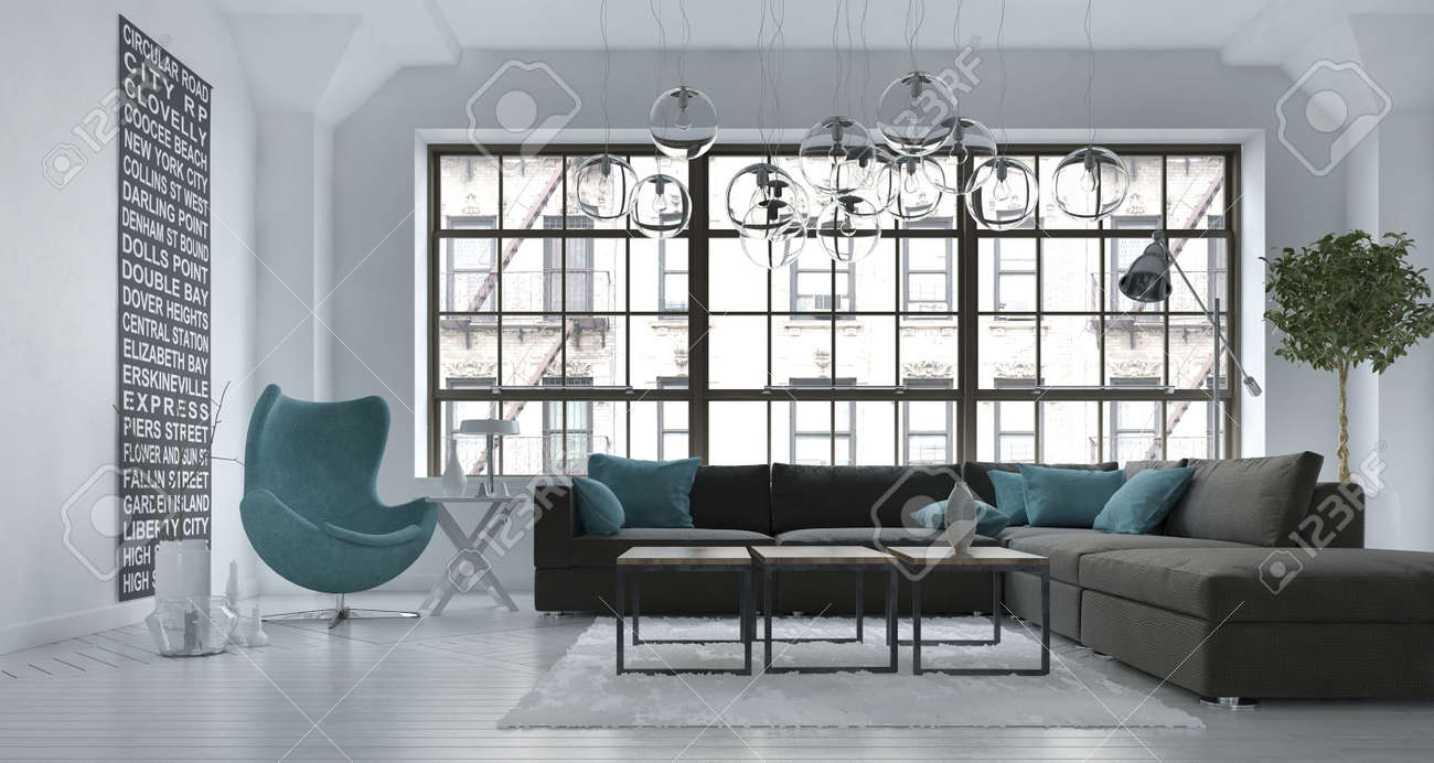 Salon De Bain Moderne salon intérieur chambre dans un appartement urbain moderne avec une  tapissée suite coin salon gris et chaise de bain bleu contre une grande  fenêtre de