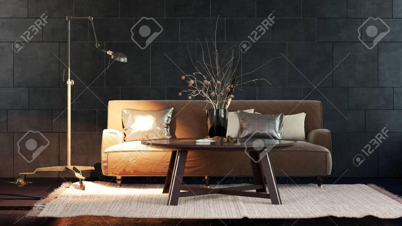 Einzel Verstellbare Stehlampe Von Braunen Sofa Neben Tabelle Uber
