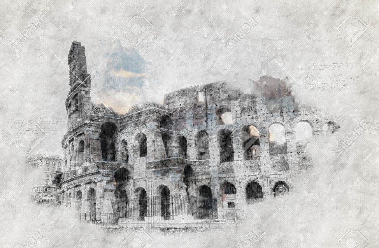 Hand-drawing or sketch of the colosseum in Rome Standard-Bild - 58027898