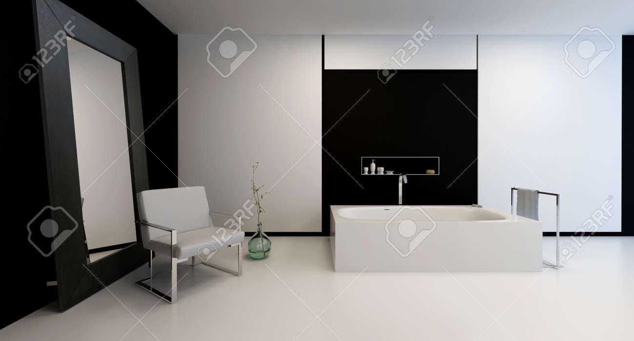 Banque Du0027images   Entre Noir Et Blanc Moderne élégante Salle De Bains Avec  Un Décor Minimaliste Dans Une Chambre Spacieuse Et Un Grand Miroir Appuyé  Contre ...