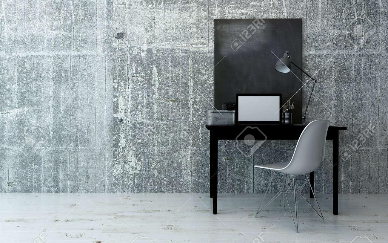 Intérieur noir et blanc de bureau et une chaise avec de simples