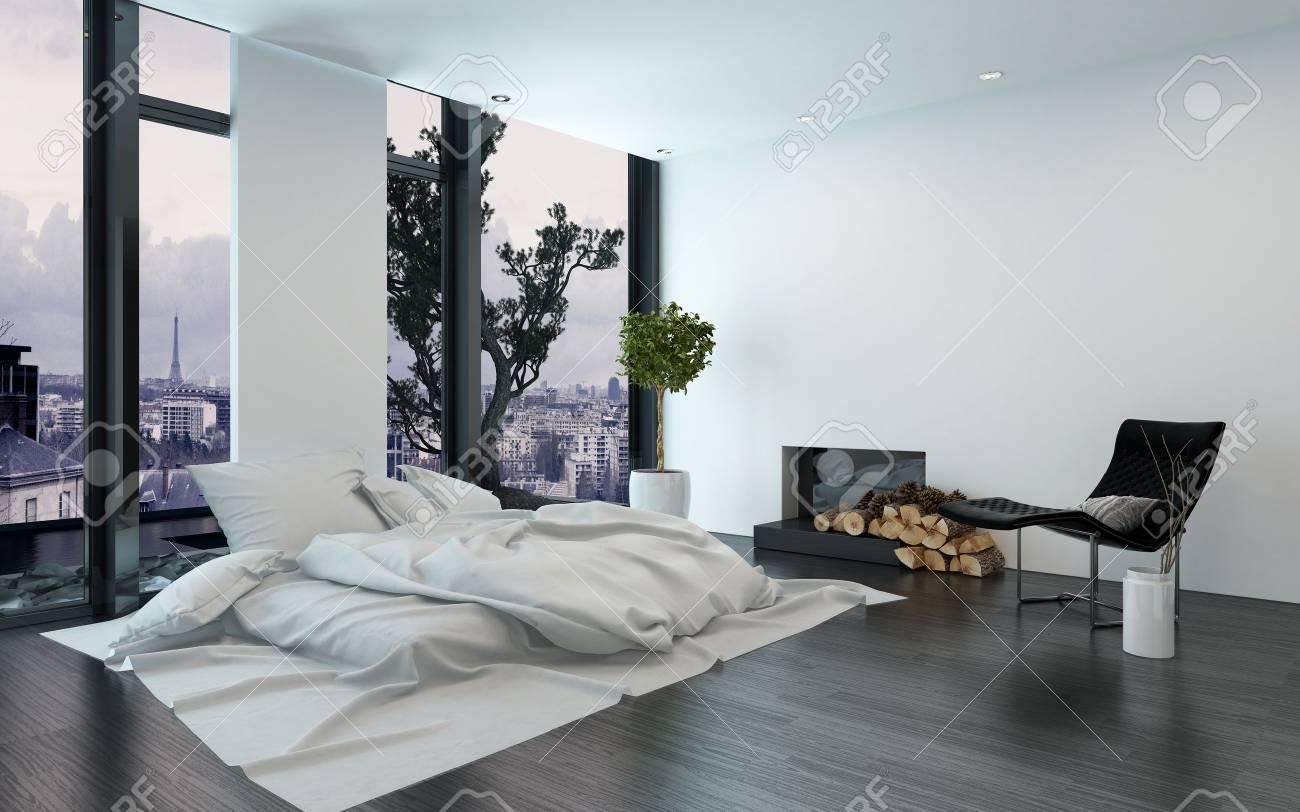 Elegant Luxus Wohnung Mit Kahlen Wänden Und Kamin Neben Einfachen Ungemachtes Bett  Und Boden Bis Zur