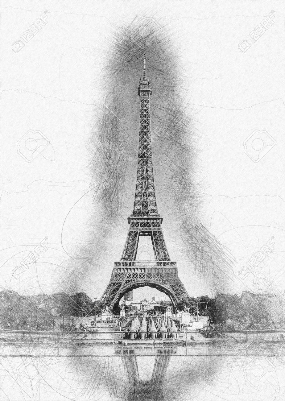 Pencil line sketch of historical eiffel tower with shading and reflection in water fountain on white