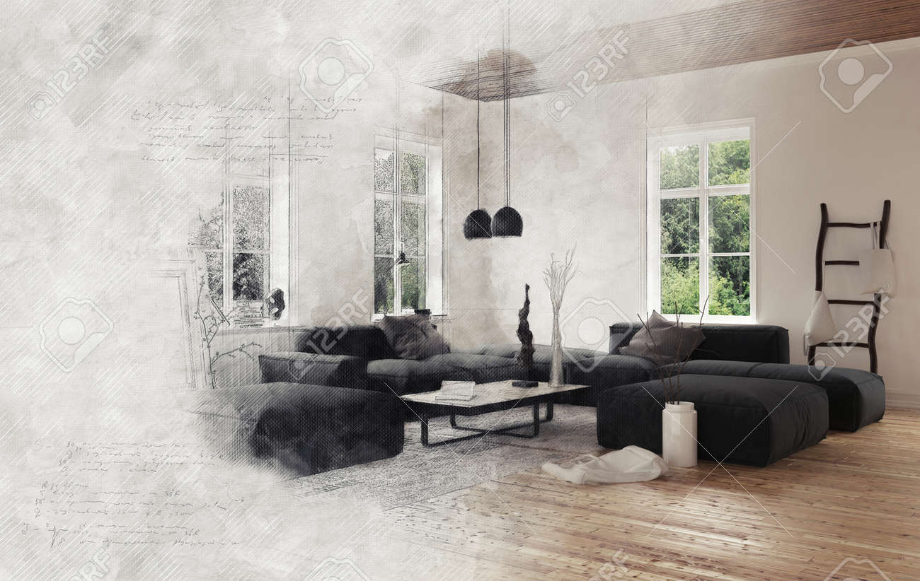 Gray Smoke Enveloping Empty Living Room Scene With Black Modular ...