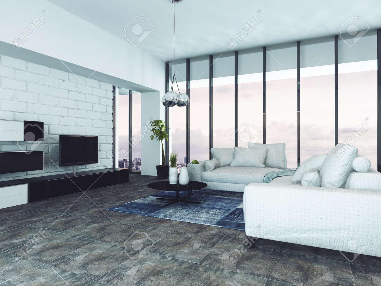 Spacieux salon contemporain avec des canapés blancs et fenêtres du sol au  plafond. Rendu 3D.